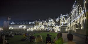 Projected bicycles on the Karlsruhe Palace