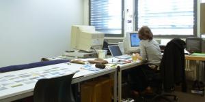 Eine Person arbeitet am PC, von hinten fotografiert