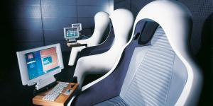 White hearing seats with a monitor