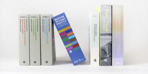 Aufgereihte Bücher in verschiedenen Farben. Eines ist an ein anderes angelehnt