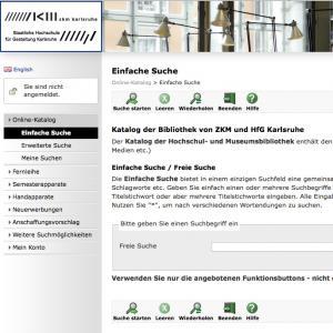 Screenshot des Online-Bibliothekskatalogs der ZKM |Bibliothek