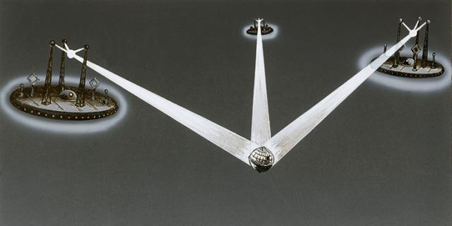 Eine Zeichnung von drei Lichtstrahlen, die auf einen Globus treffen
