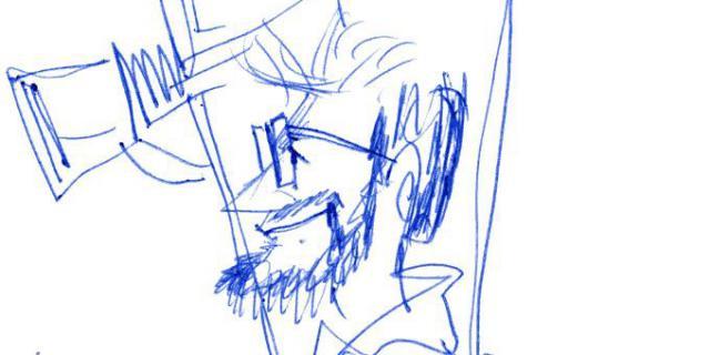 Blaue Zeichnung eines Mannes mit Kamera auf weissem Papier.