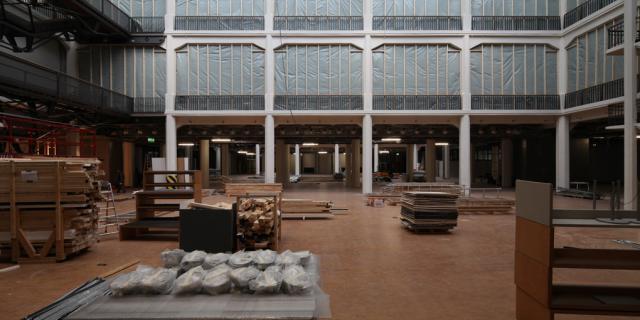 Der Lichthof des Medienmuseums als Baustelle