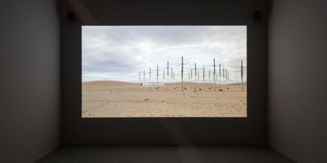 Eine Wüstenlandschaft mit Strommasten