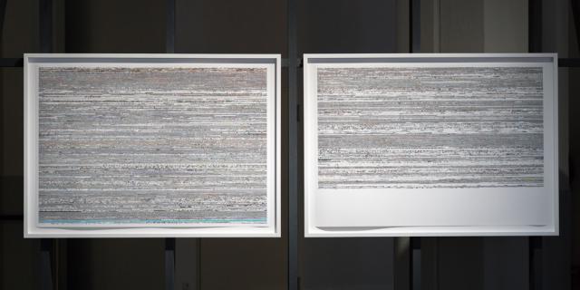 Zwei Bilder, auf denen TV-Bildstörungen zu sehen sind.