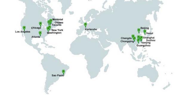 Weltkarte auf denen verschiedene Stationen des AppArtAwards eingezeichnet sind