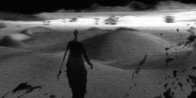 The picture is in black and white, a shady figure walks through the desert