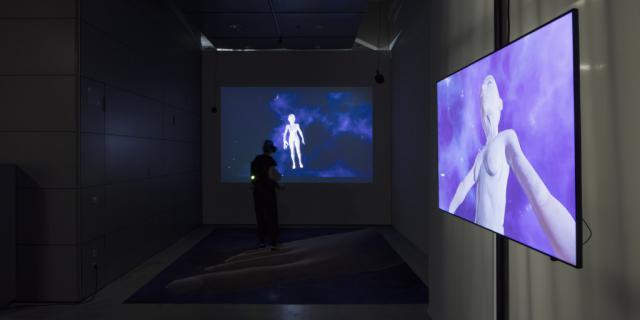 A virtual reality artwork with two screens