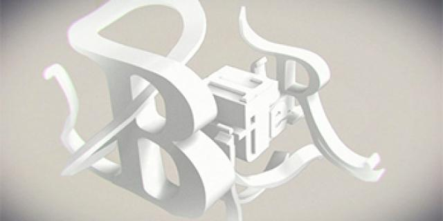 Verschiedene weiße Buchstaben ineinander verflochten.