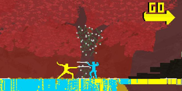two characters made out of yellow and turquoise pixels are fighting each other with swords