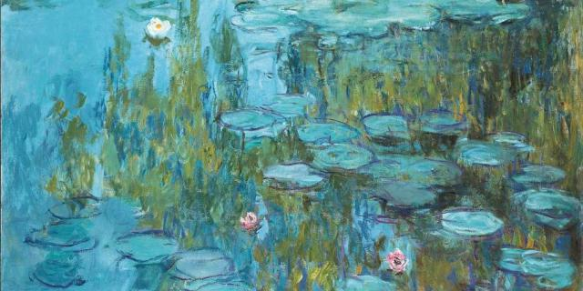 Painting of a lily pond