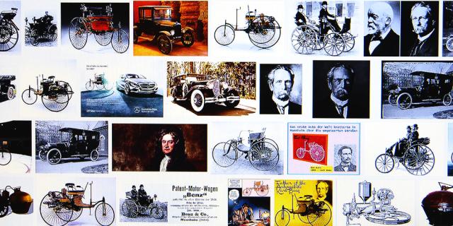 Unterschiedliche Ansichten früher Automobile