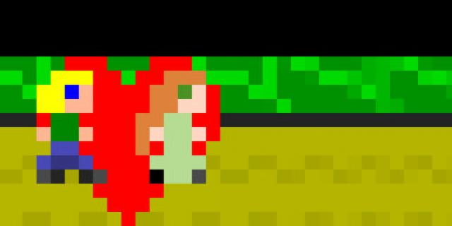 Two characters out of a few pixels are walking a way, behind them there is a red heart