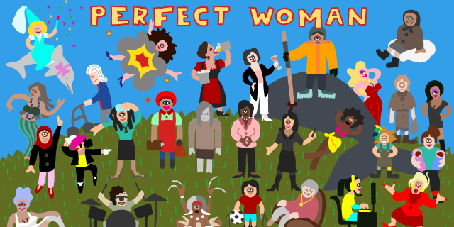 Below the text »Perfect Woman« there are several one-eyed figures