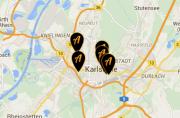 Ausschnitt einer Stadtkarte mit Positionsmarkern