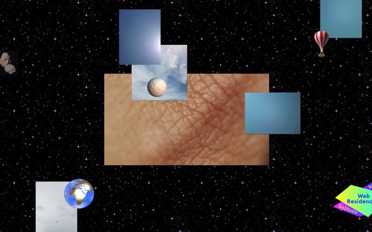 Verschiedene viereckige Graphiken, eine davon zeigt menschliches faltiges Hautgewebe, liegen auf einem Hintergrund aus Universum.
