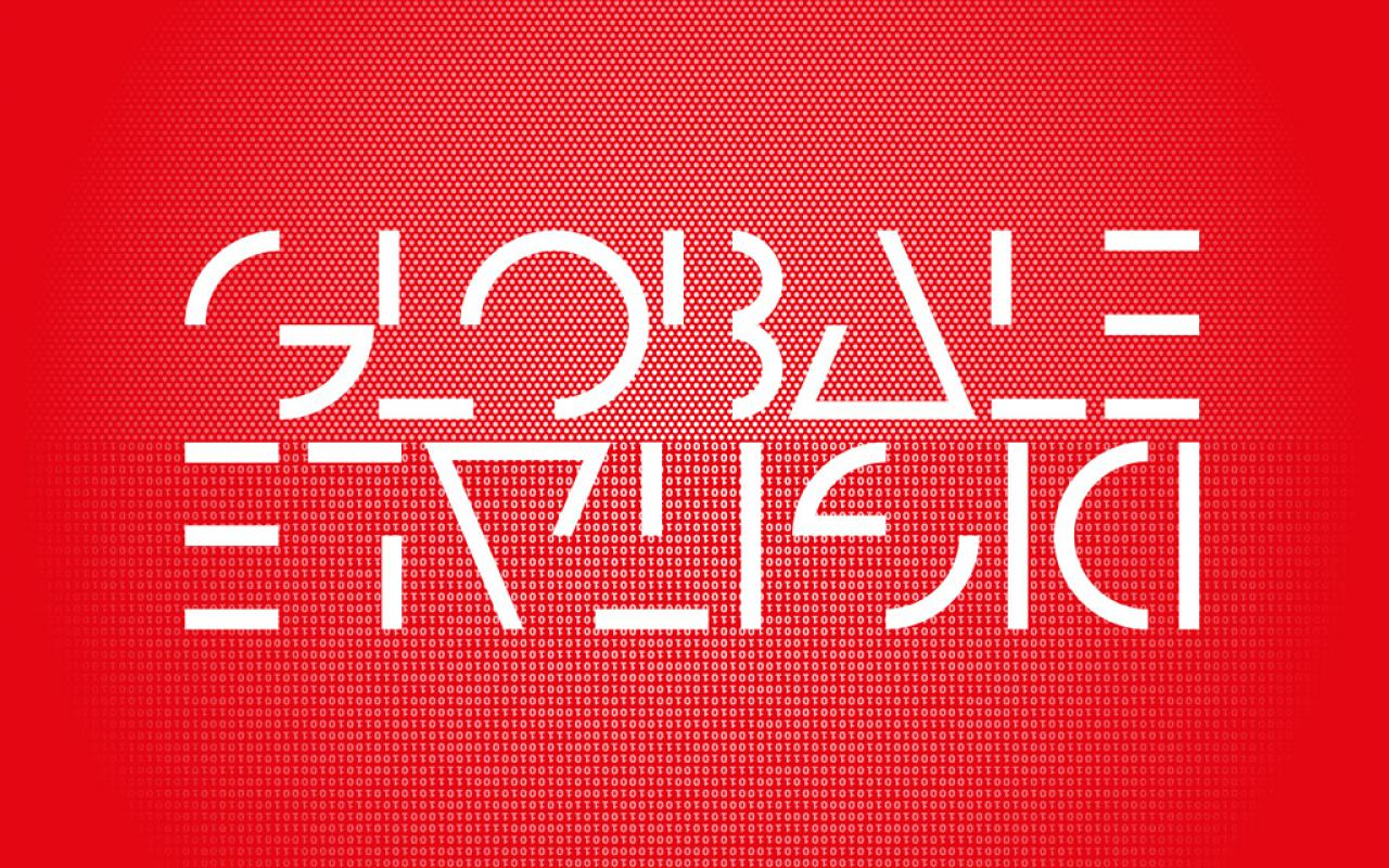 White letters on red ground: GLOBALE and upside-down DIGITALEe-down DIGITALE