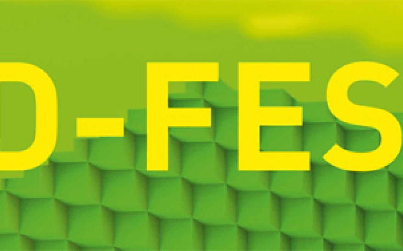 Gelbe Schrift auf grünem Grund: 3D-Festival
