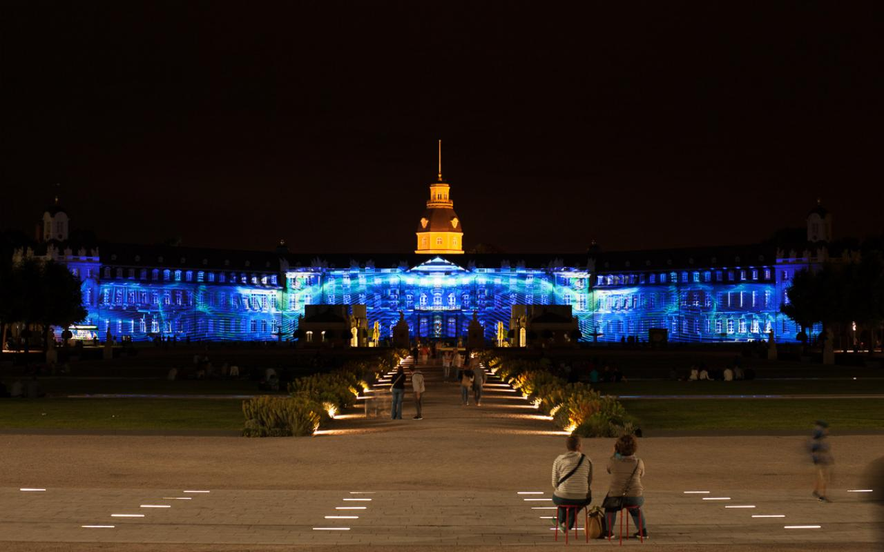 The Karlsruhe palace in blue