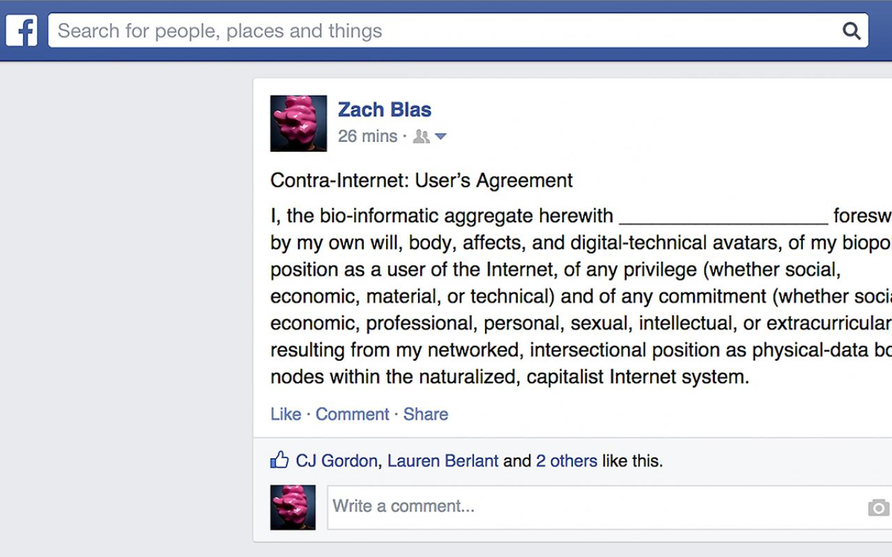 Screenshot of a Facebook post by Zach Blas