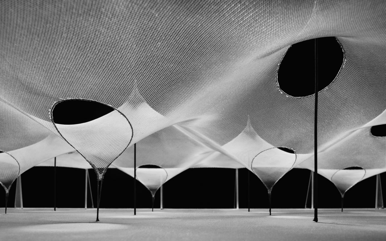 Modell einer regelmäßigen Hoch-Tiefpunktfläche; Frei Otto, Larry Medlin, 1964