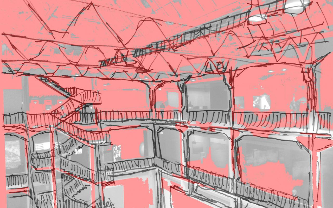 Red and grey painting of an atrium