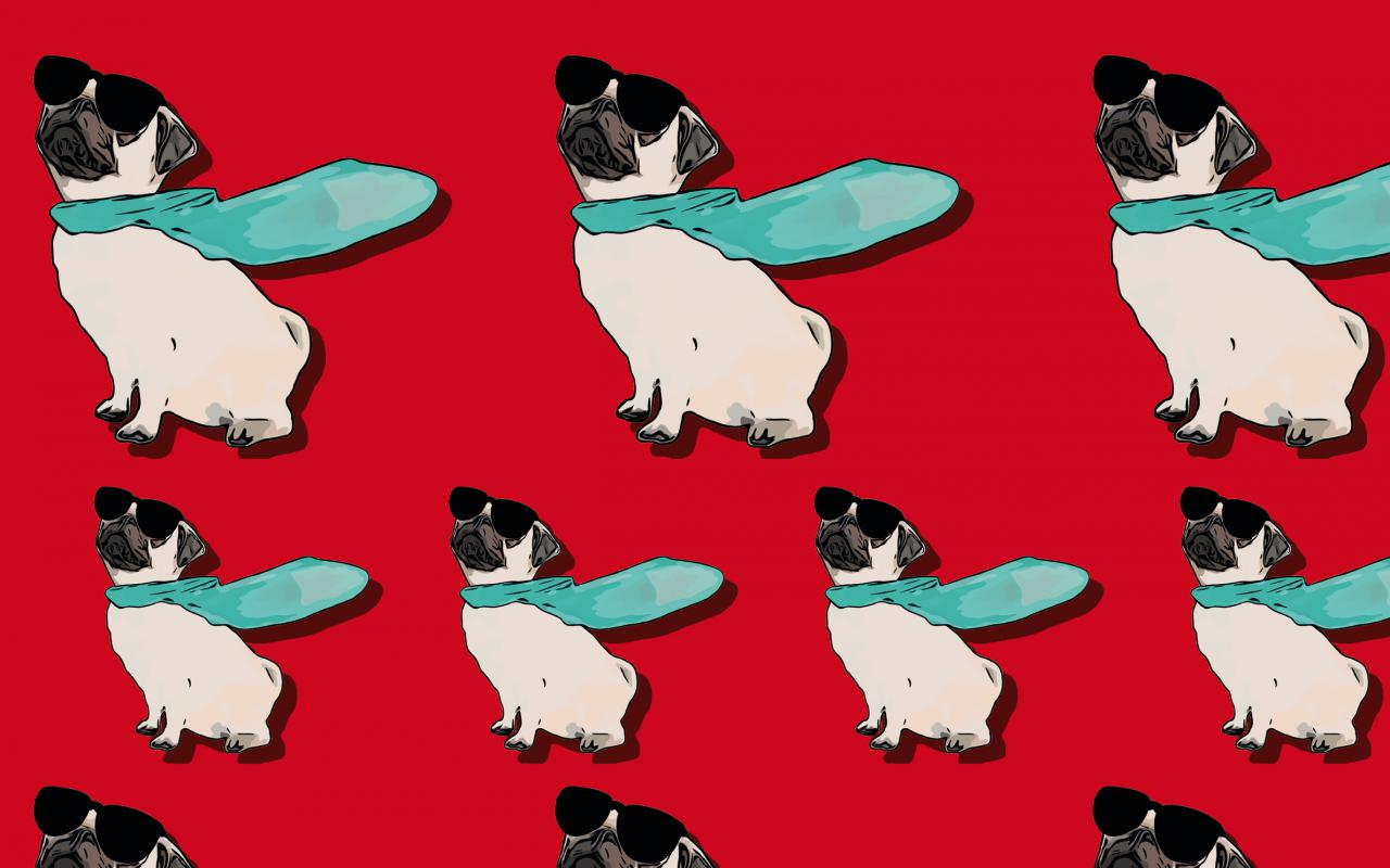 Lots of pugs with cape and sunglasses against a red background.
