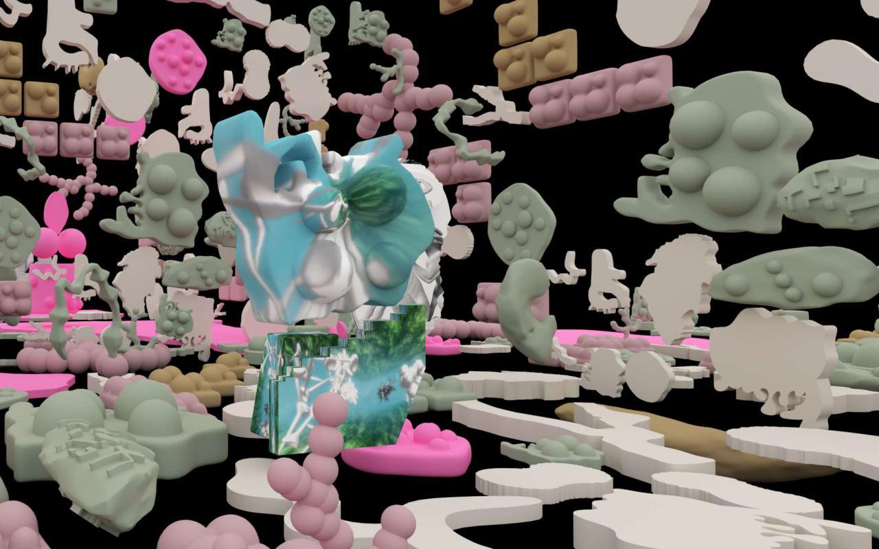 Zu sehen sind bunte 3D-Formen, die sich von einem schwarzen Hintergrund abheben