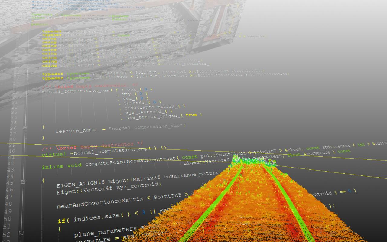 Die Graphik zeigt einen orangenen Weg vor einem grauen Hintergrund, auf dem Code abgebildet ist.