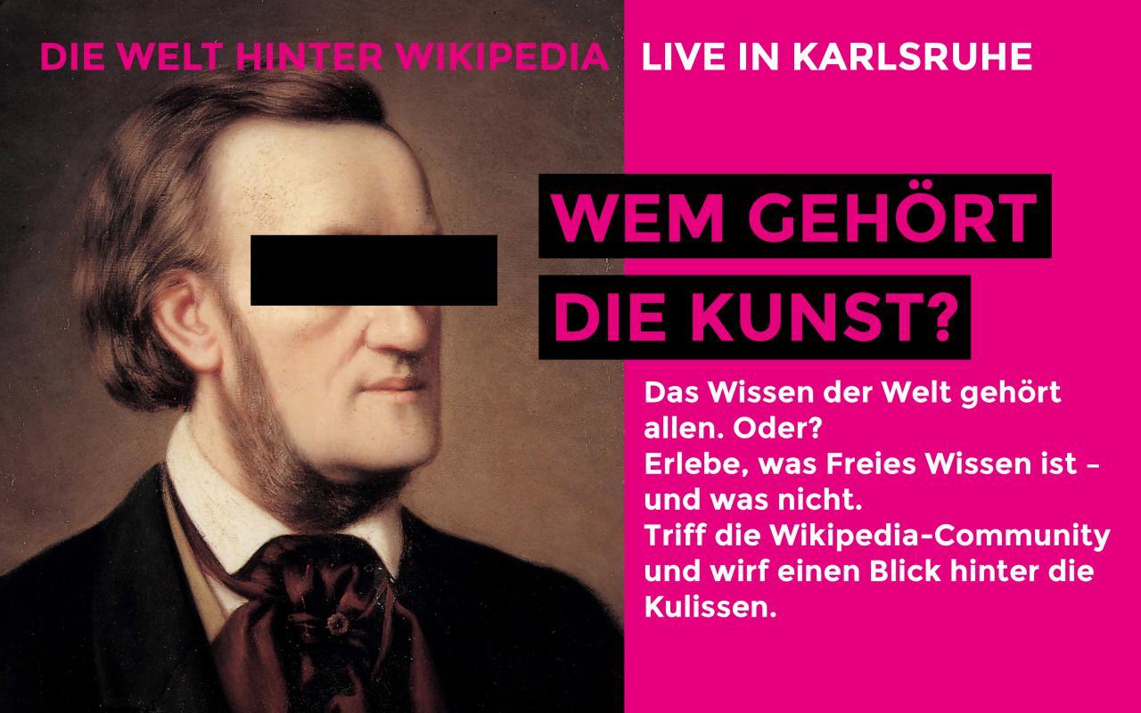 Plakat von Wikipedia am ZKM: Wem gehört die Kunst?