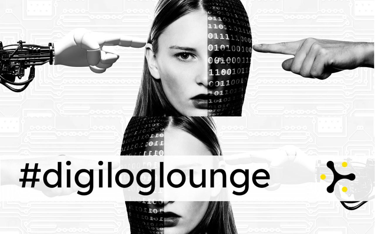 """A woman's face is half covered by binary code. One human and one robot hand each point at her. Below is the banner """"#digiloglounge""""."""