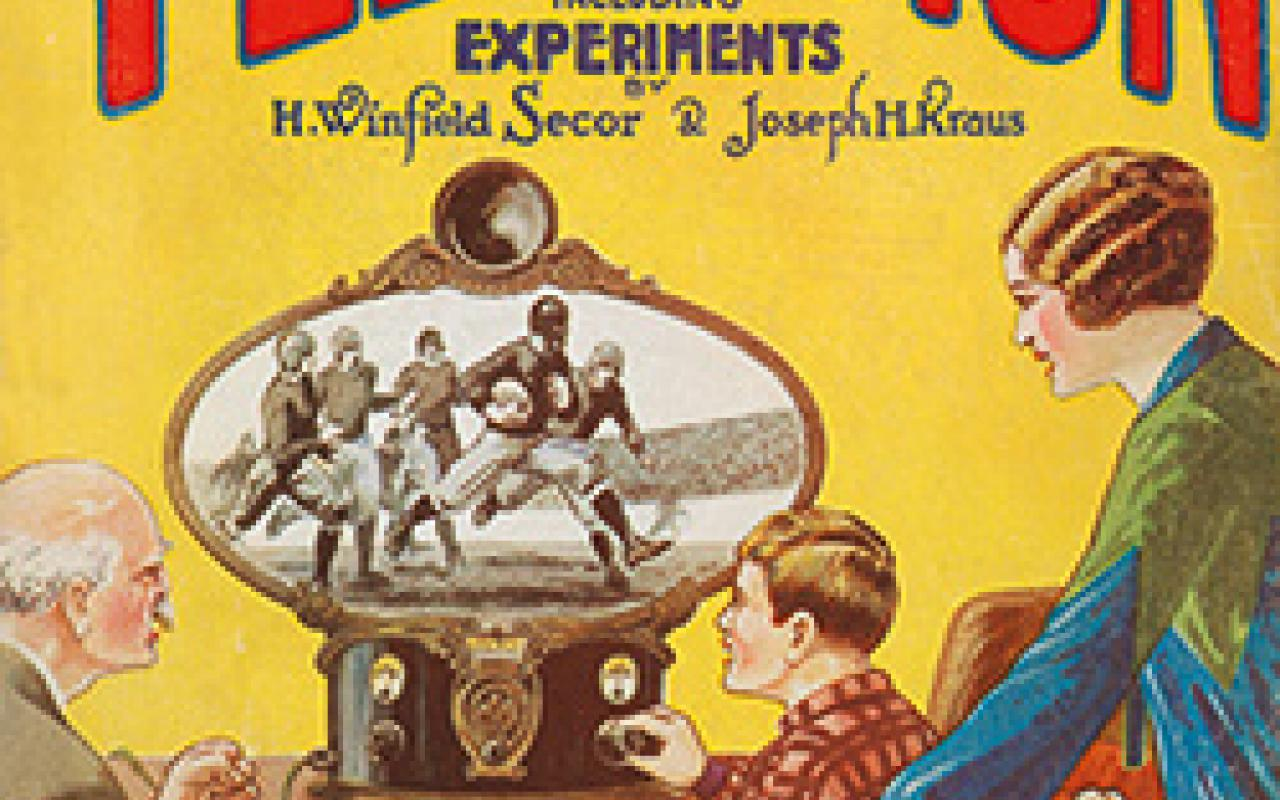 Bookcover: Hugo Gernsback (ed.): All about Television.  A boy, an old man and a middle-aged woman watch a rugby game on an antiquated television.