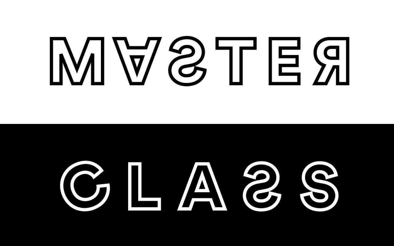 Das Wort Masterclass steht auf einem schwarz-weißen Hintergrund