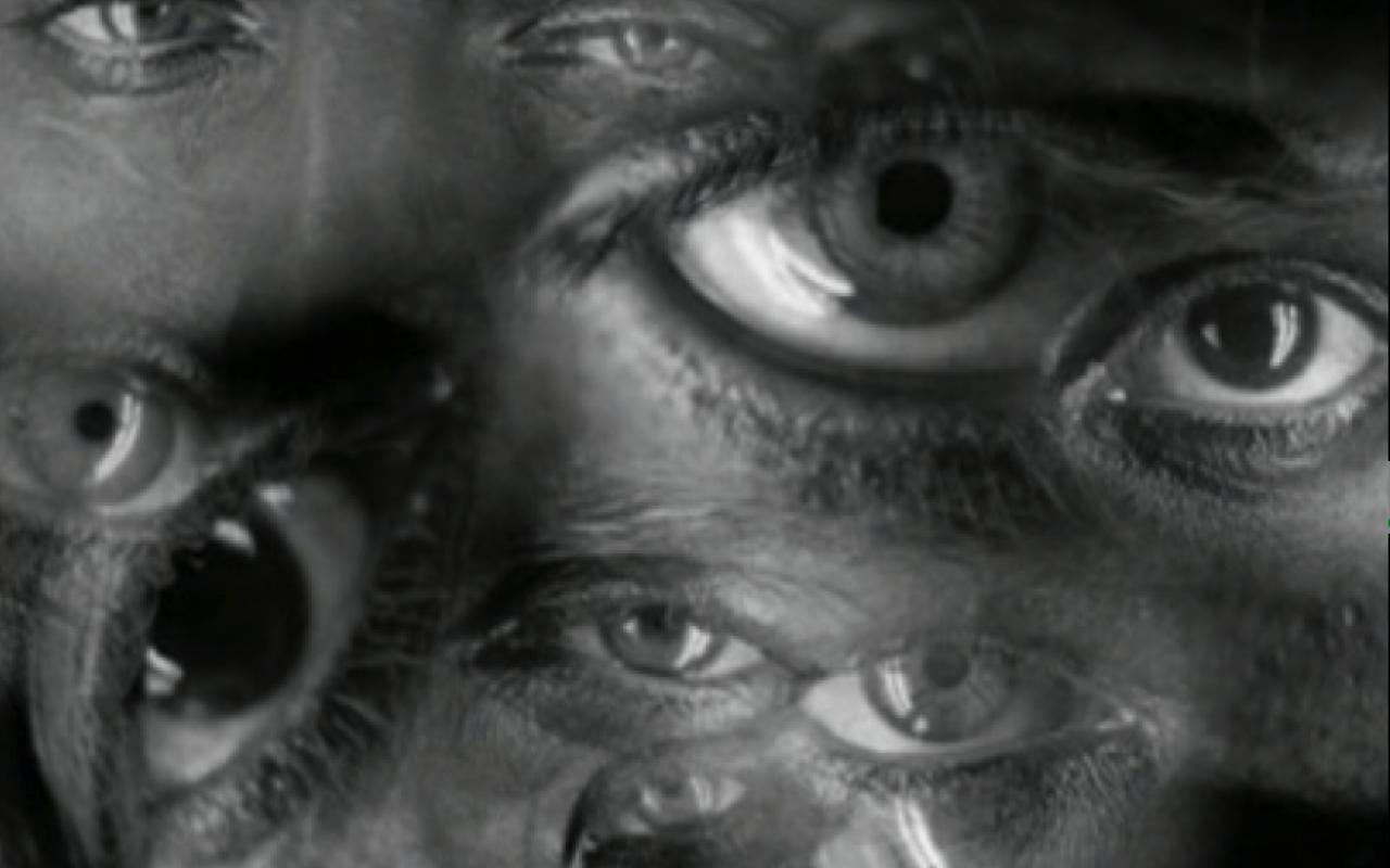 Das Schwarzweiß-Bild zeigt eine Collage zahlreicher Augenpaare