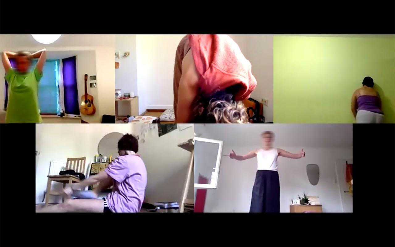Ein Bildschirm mit mehreren Videochat Fenstern. Auf diesen sind jeweils eine Person in Bewegung zu sehen.