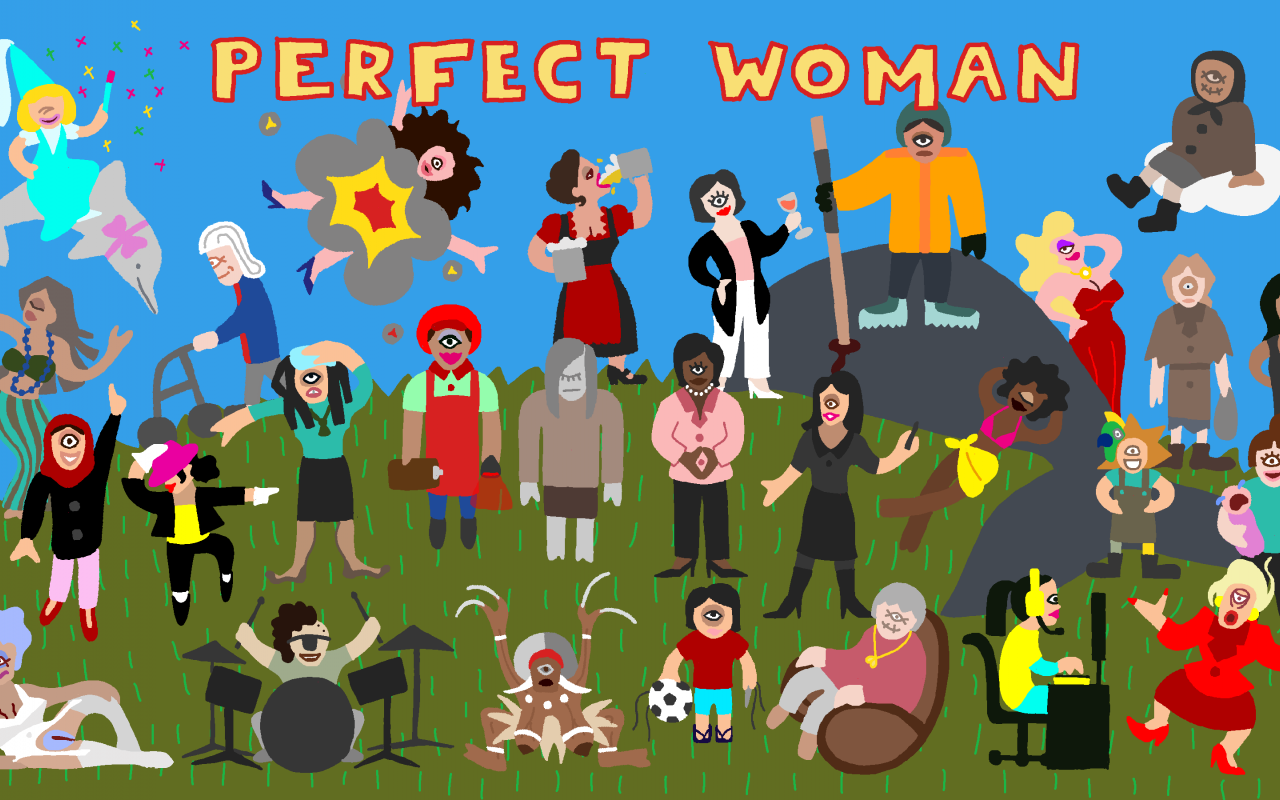 Unter dem Schriftzug »Perfect Woman« versammeln sich viele einäugige Figuren