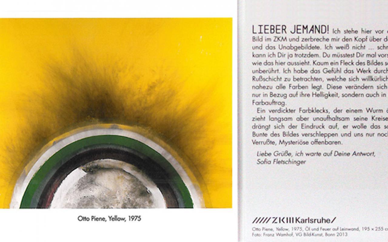 Buchseite zeigt ein gelbes Gemälde neben einem Text