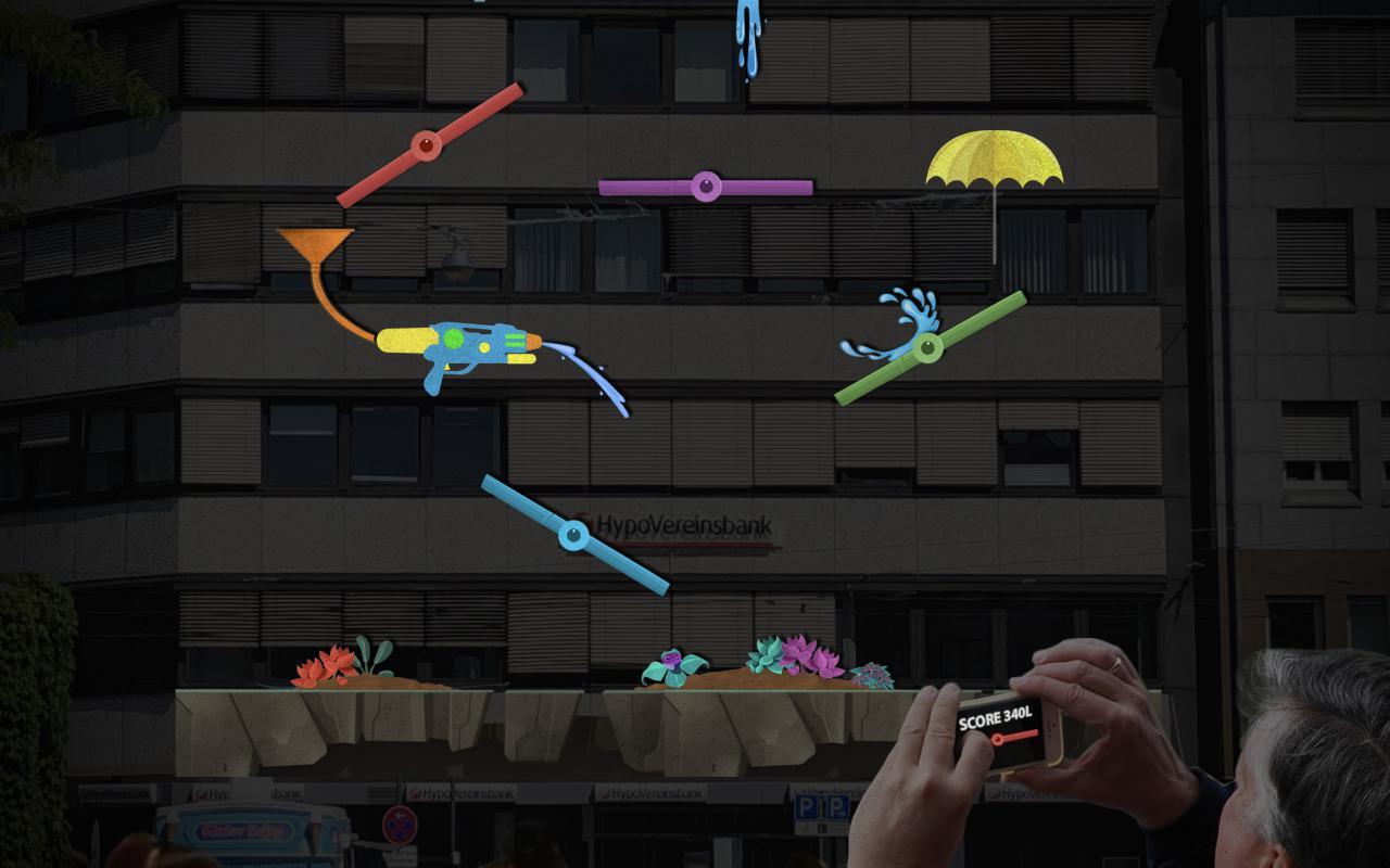 Zu sehen ist ein Computerspiel, bei dem verschiedene lange Stäbe so bewegt werden können, dass das Wasser, das von oben kommt, unten bei den Blumen ankommt.