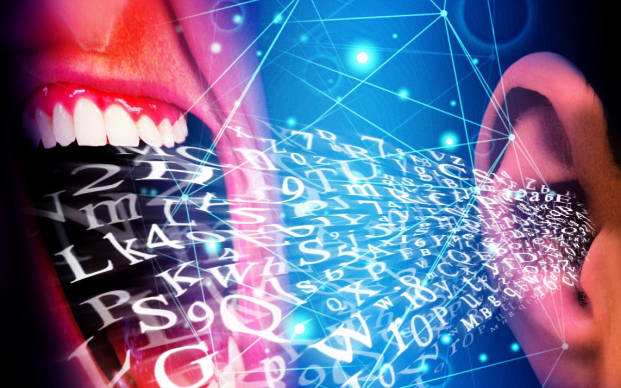Das Bild zeigt ein Ohr aus dem Buchstaben herausströmen. Sie fließen vom Ohr in Richtung eines geöffneten Mundes.