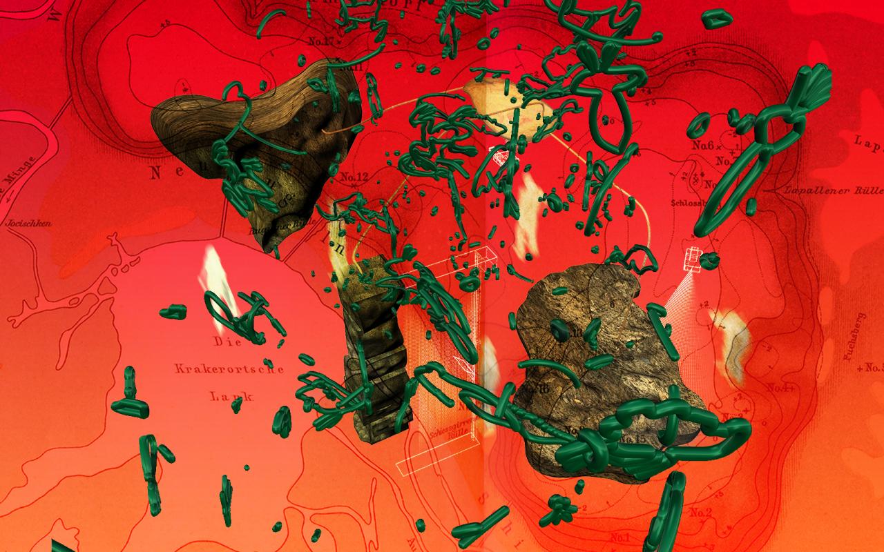 Eine Bildschirmaufnahme eines digitalen Kunstwerkes mit Stein- und Pflanzenmotiven.