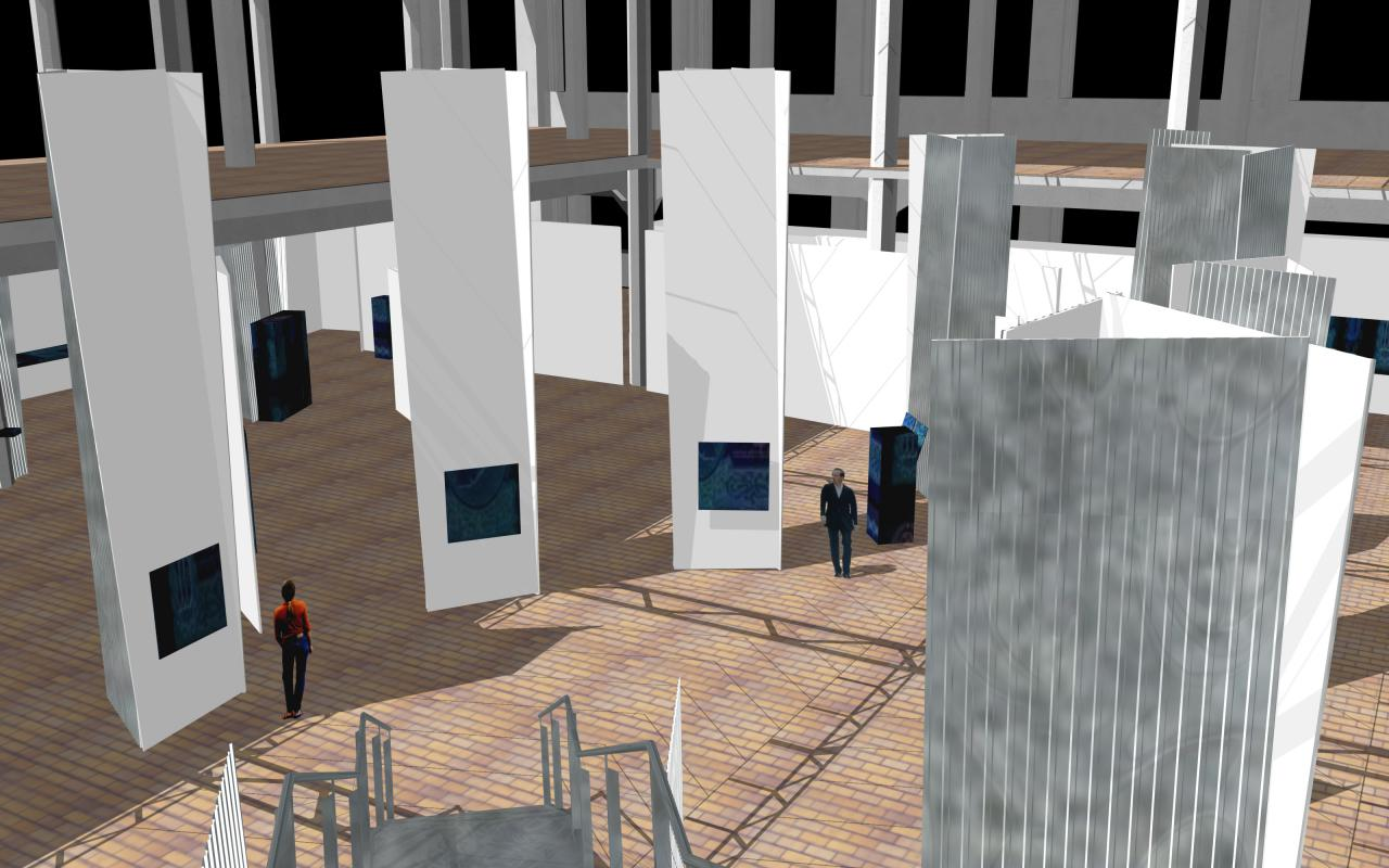Virtuelle Computergrafik eines großen zweistöckigen Ausstellungsraums voller weißer Säulen