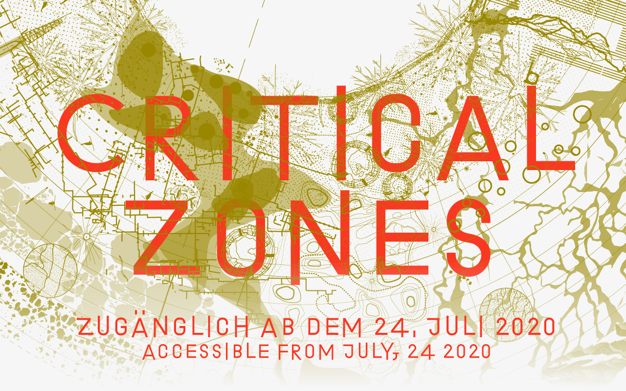 The graphic of the exhibition »Critical Zones« at the ZKM Karlsruhe. The title is in orange letters in front of an abstract, yellowish map.