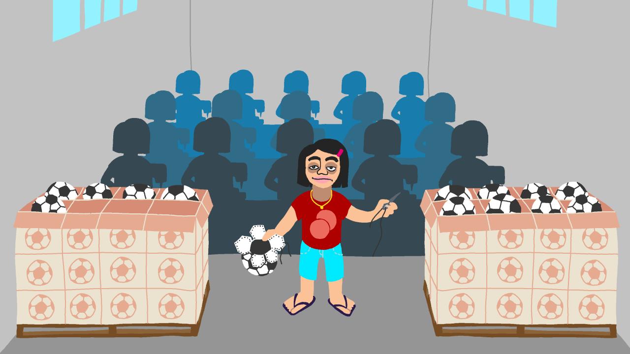 Screenshot aus dem Game »Perfect Woman«; Ein Mädchen näht einen Fußball und viele Näherinnen befinden sich als Schatten hinter ihr.