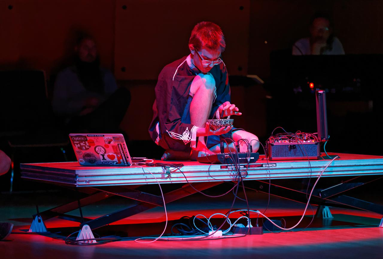 The photo shows the sound artist and musician Jonáš Gruska during his performance at the festival »sonic experiments« in July 2015.