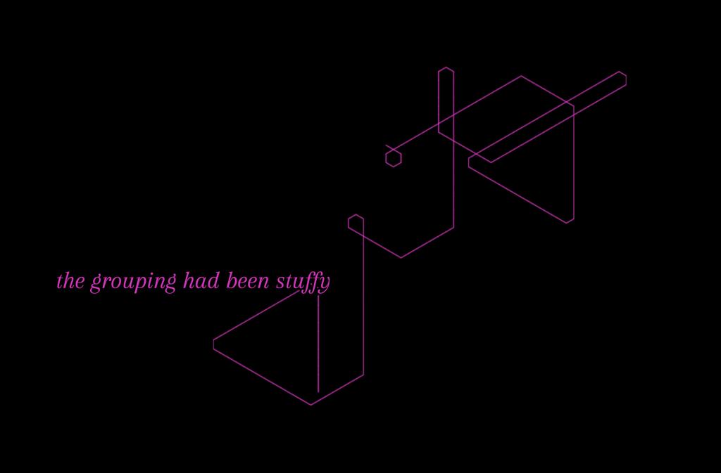 Schwarzes Bild mit pinken Linien und pinker Schrift