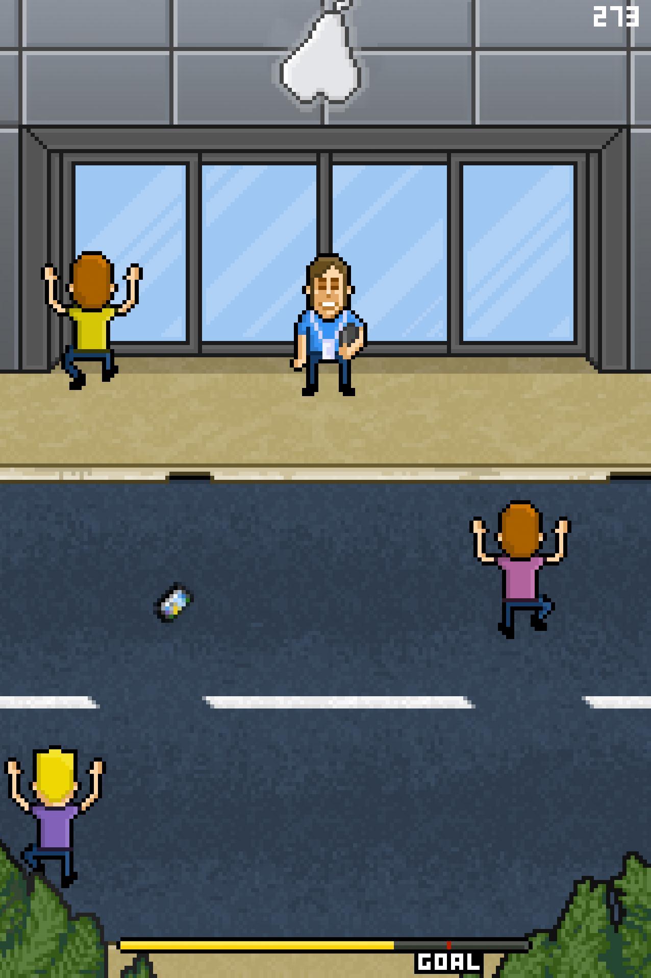 Ausschnitt aus einem Computerspiel: kleine Männchen vor einem Handy-Laden