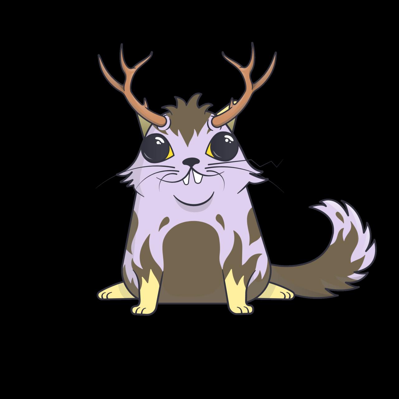 Kryptokunst: Eine illustrierte, bunte Katze.