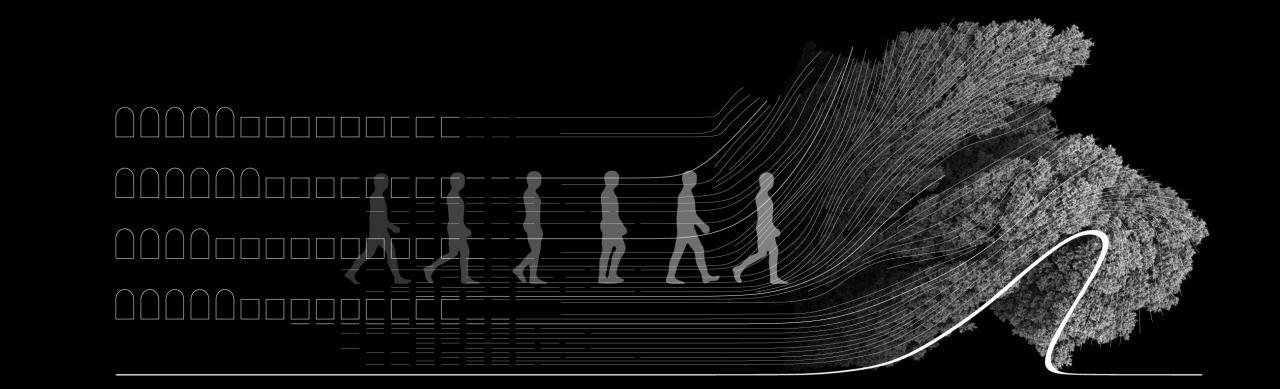 Ein Mensch läuft auf eine Sträucher, die eine Welle bilden
