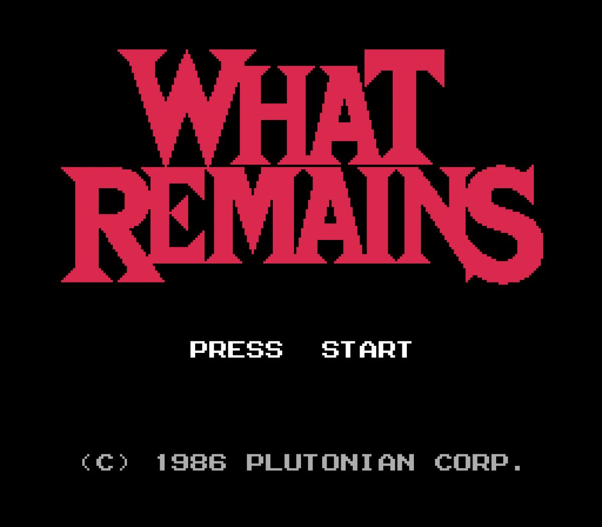 Bild des Starts vom Videospiel »What Remains« der niederländischen Künstlerin Marloes de Valk